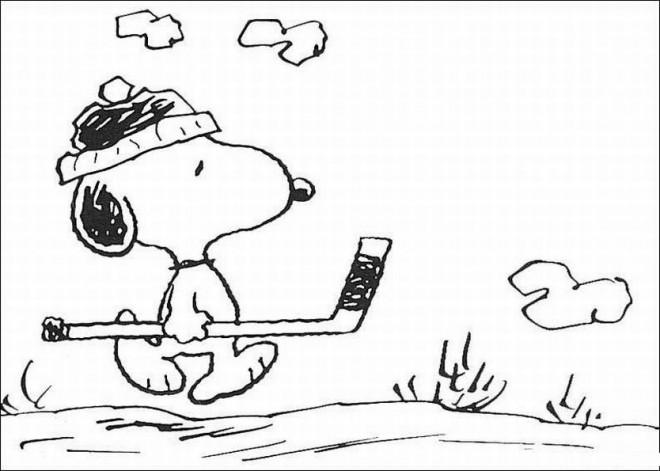 Coloriage et dessins gratuits Snoopy golfeur à imprimer