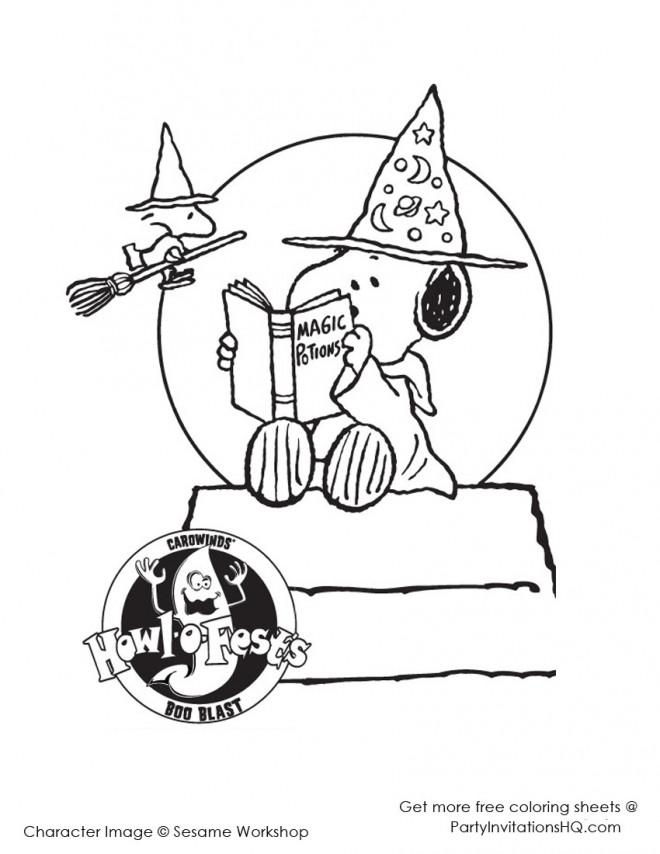 Coloriage et dessins gratuits Snoopy lit un livre de Magie à imprimer