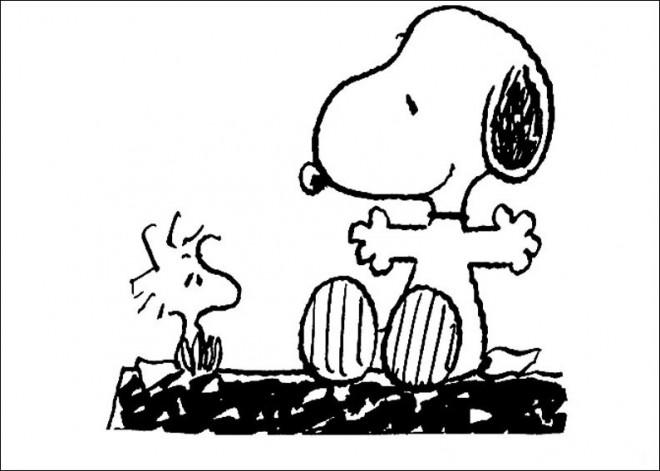Coloriage et dessins gratuits Snoopy parle avec Woodstock à imprimer