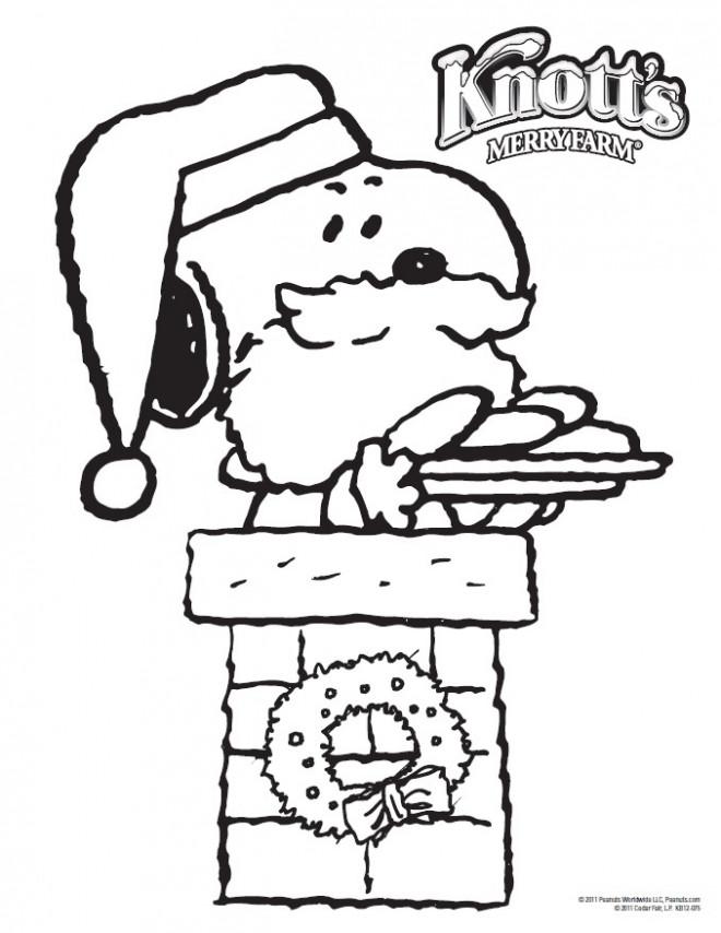 Coloriage et dessins gratuits Snoopy Père Noel à imprimer