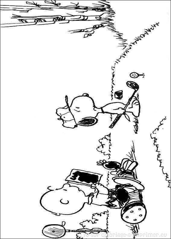 Coloriage et dessins gratuits Snoopy s'amuse avec Charlie à imprimer