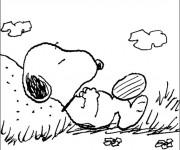 Coloriage Snoopy se repose