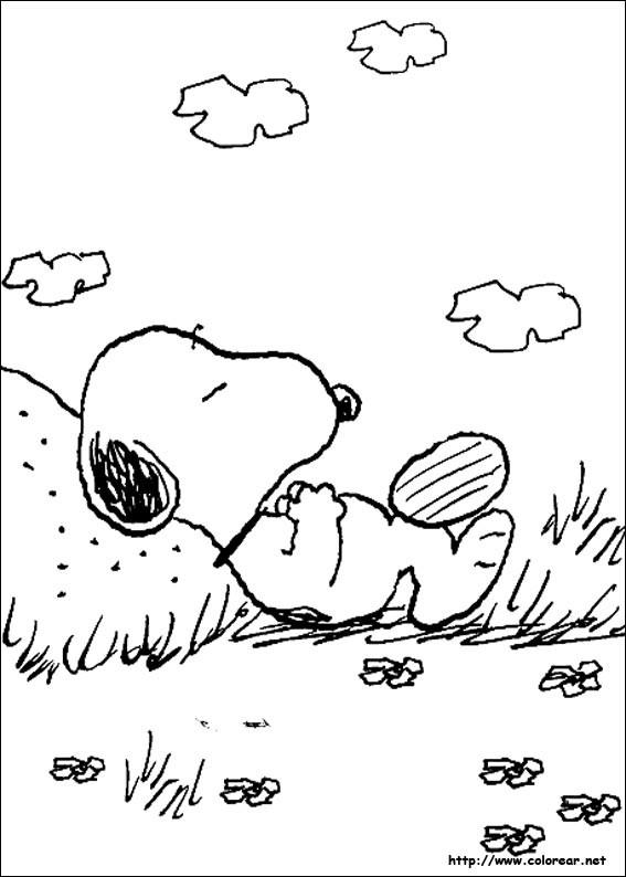 Coloriage et dessins gratuits Snoopy se repose à imprimer
