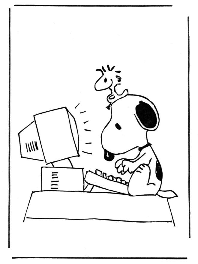 Coloriage snoopy sur l 39 ordinateur dessin gratuit imprimer - Snoopy dessin ...