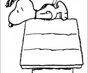 Coloriage et dessins gratuit Snoopy sur sa maison à imprimer