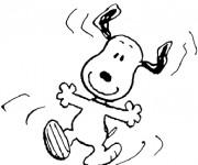 Coloriage et dessins gratuit Snoopy tout en sautant à imprimer