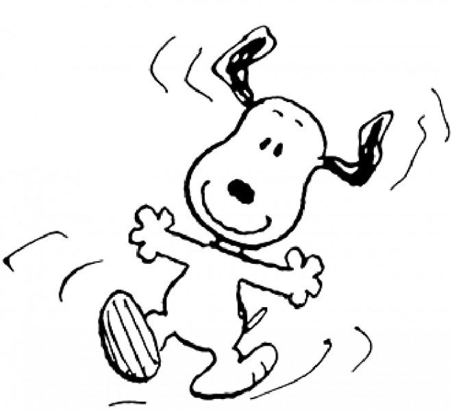 Coloriage et dessins gratuits Snoopy tout en sautant à imprimer
