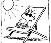 Coloriage et dessins gratuit Woodstock à la plage à imprimer