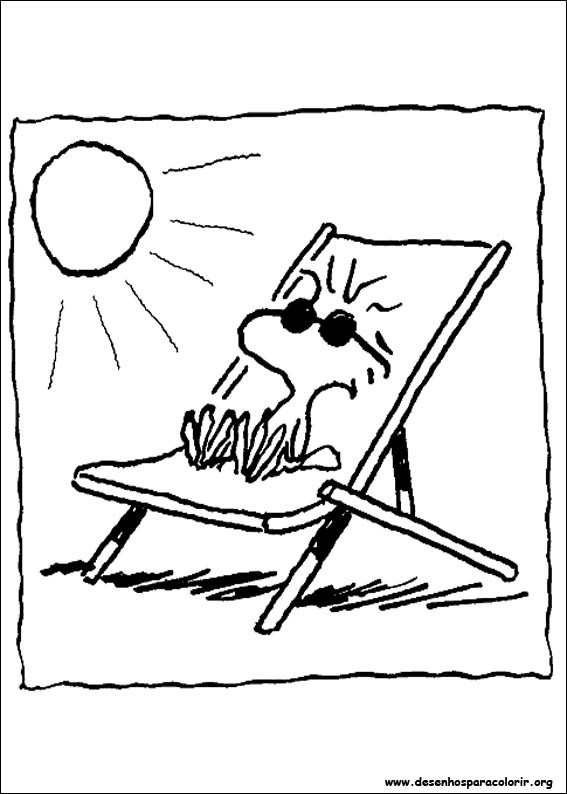 Coloriage et dessins gratuits Woodstock à la plage à imprimer