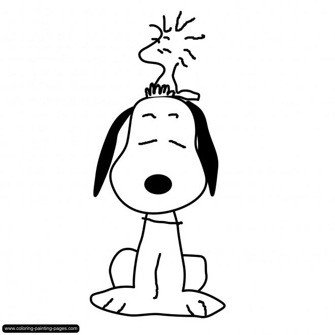 Coloriage et dessins gratuits Woodstock sur La tête de Snoopy à imprimer