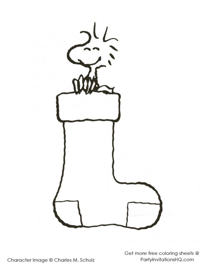 Coloriage et dessins gratuits Woodstock sur une chaussette à imprimer