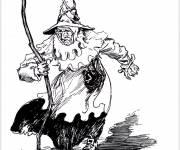 Coloriage Halloween sorcière effrayante