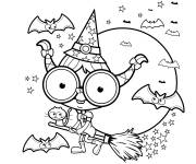 Coloriage Halloween sorcière facile
