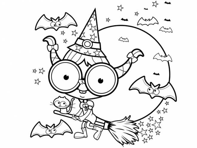 Coloriage et dessins gratuits Halloween sorcière facile à imprimer