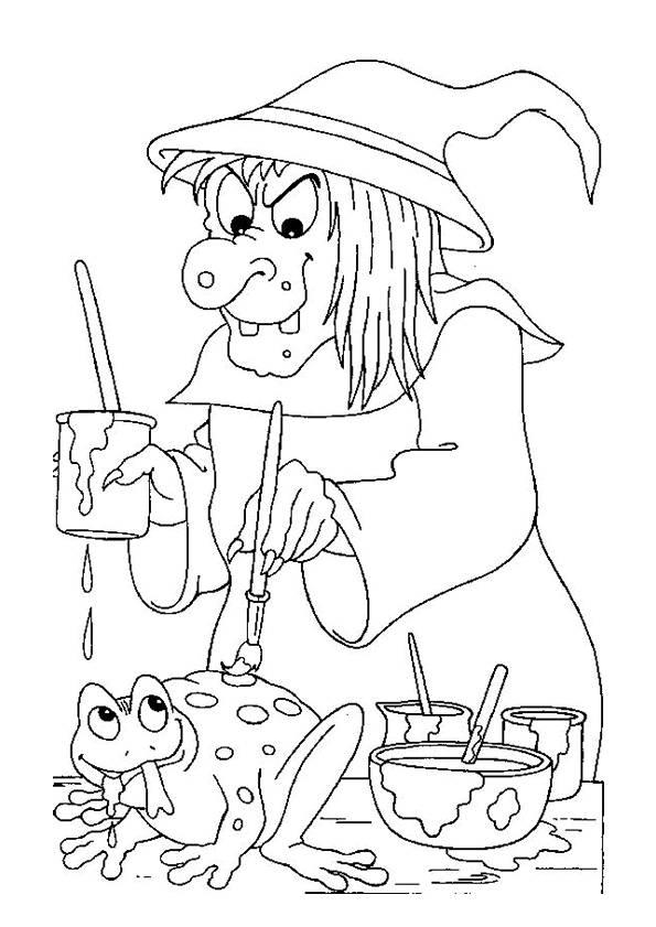 Coloriage et dessins gratuits Halloween vilaine sorcière à imprimer