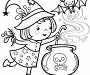 Coloriage petite Sorcière et potion magique Halloween