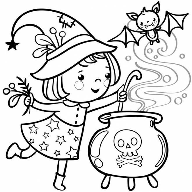 Coloriage et dessins gratuits petite Sorcière et potion magique Halloween à imprimer