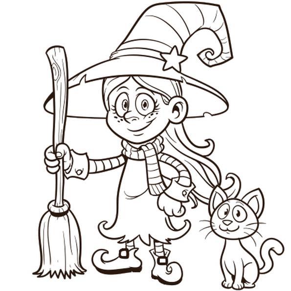 Coloriage Petite Sorcière Et Son Chat Halloween