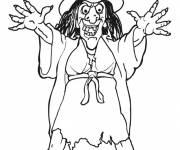 Coloriage sorcière effrayante Halloween