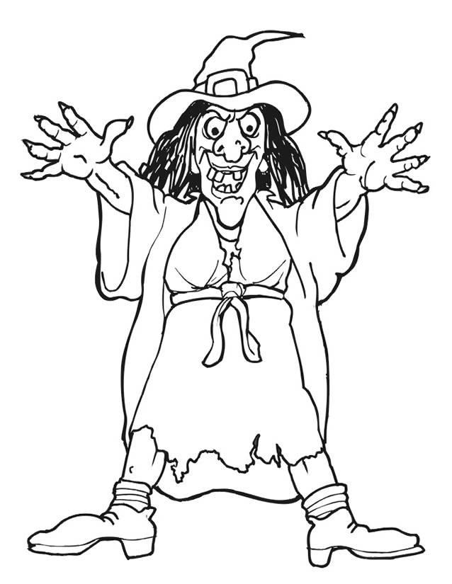 Coloriage et dessins gratuits sorcière effrayante Halloween à imprimer