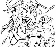 Coloriage sorcière fantôme Halloween