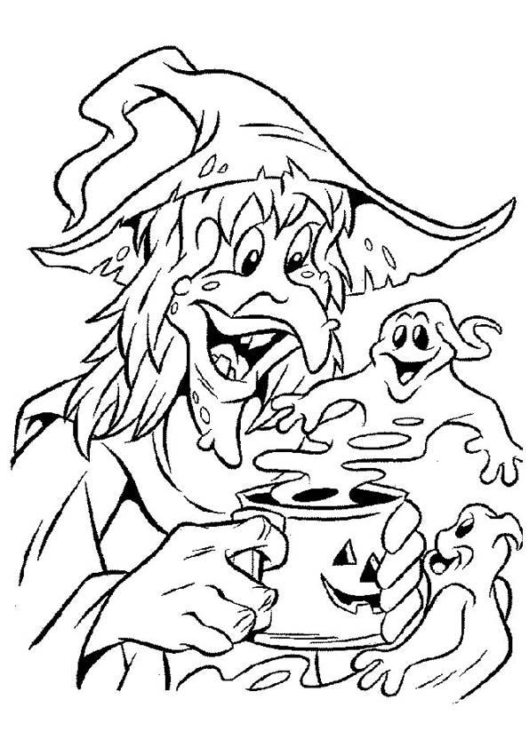Coloriage et dessins gratuits sorcière fantôme Halloween à imprimer