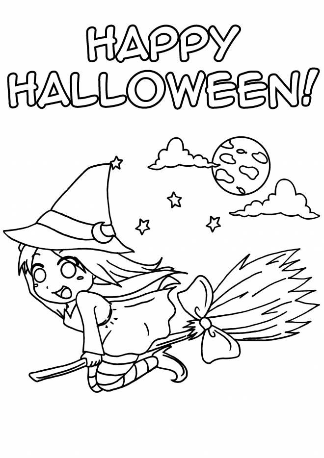 Coloriage Sorcière Halloween gratuit à imprimer