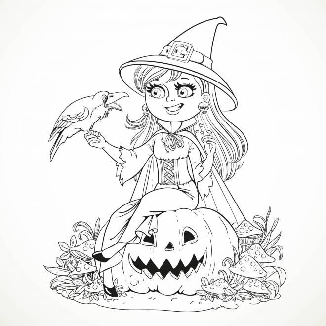 Coloriage Sorciere Souriante Et Corbeau à Halloween