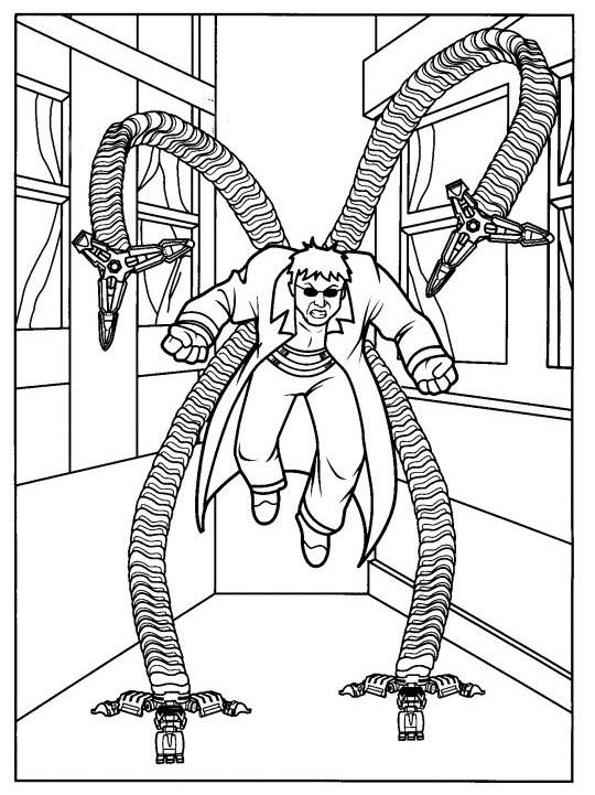 Coloriage docteur octopus magique dessin gratuit imprimer - Coloriage spiderman portrait ...