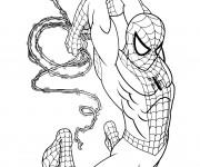 Coloriage L'homme araignée  lance ses filets