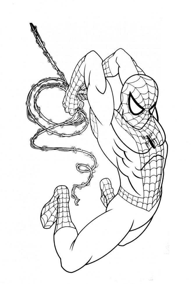 Coloriage et dessins gratuits L'homme araignée  lance ses filets à imprimer