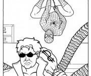 Coloriage Scène de Spiderman et Docteur Octopus