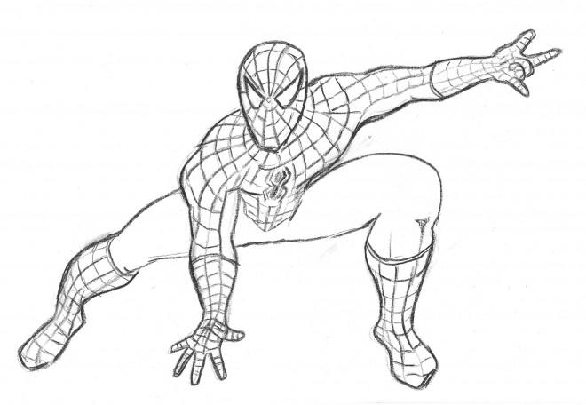 Coloriage et dessins gratuits Spiderman au crayon à imprimer