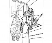 Coloriage Spiderman capture le criminel