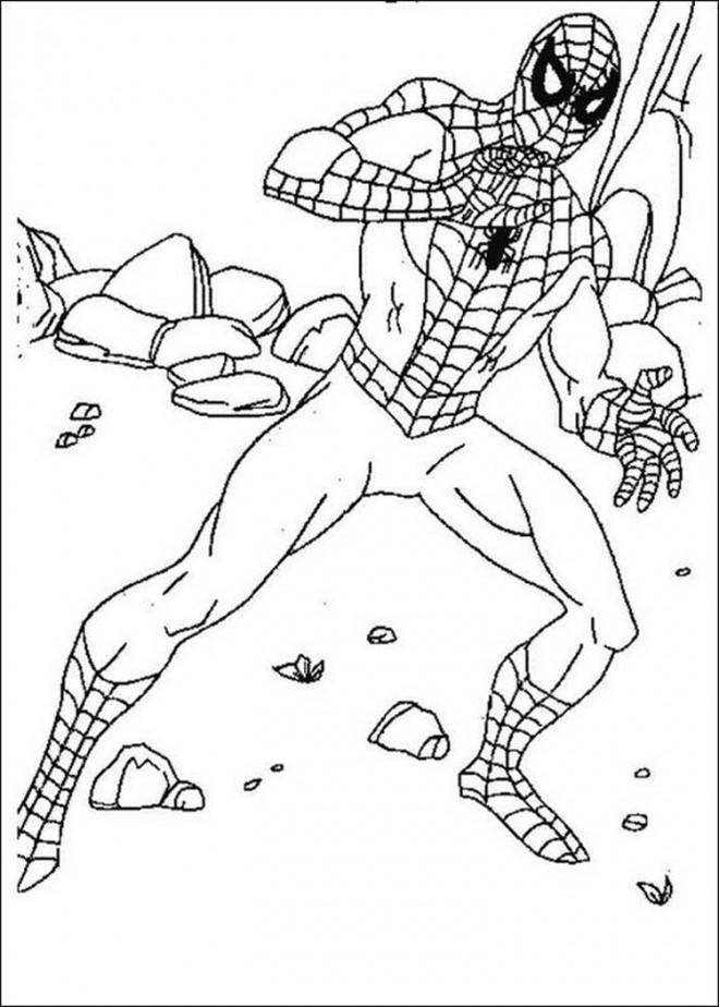 Coloriage spiderman dans le d sert dessin gratuit imprimer - Jeu spiderman gratuit facile ...