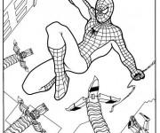 Coloriage Spiderman en combat avec son ennemie