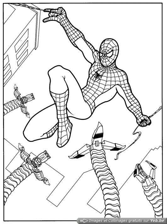 Coloriage Spiderman en combat avec son ennemie dessin gratuit à imprimer