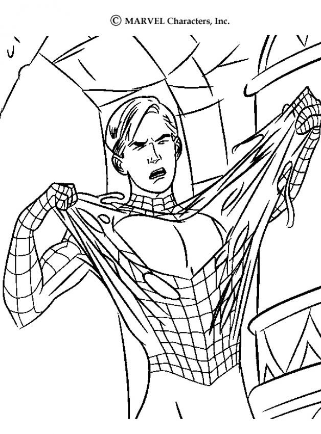 Coloriage spiderman enl ve son masque facile - Dessin spiderman facile ...