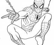 Coloriage et dessins gratuit Spiderman et son arme secret à imprimer