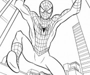 Coloriage et dessins gratuit Spiderman Facile à New York à imprimer