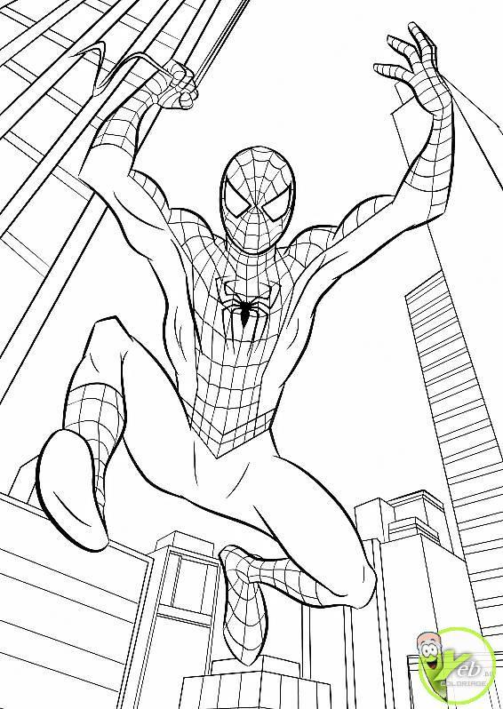 Coloriage et dessins gratuits Spiderman Facile à New York à imprimer