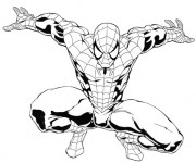 Coloriage Spiderman Facile en noir et blanc