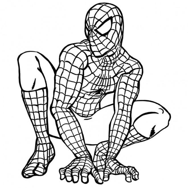Coloriage spiderman facile pour enfant dessin gratuit imprimer - Jeu spiderman gratuit facile ...