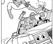 Coloriage et dessins gratuit Spiderman Le Héro contre les malfaiteurs à imprimer