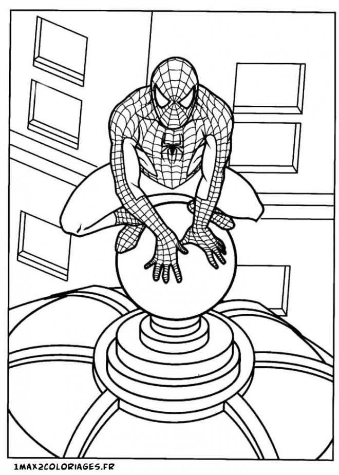 Coloriage et dessins gratuits Spiderman le Toit de la maison à imprimer