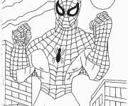 Coloriage Spiderman prêt au combat