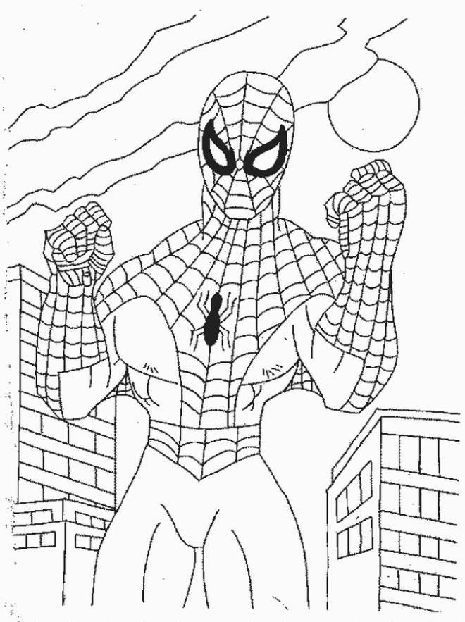 Coloriage Spiderman prêt au combat dessin gratuit à imprimer