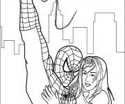 Coloriage Spiderman sauve la fille