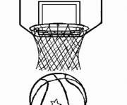 Coloriage et dessins gratuit Ballon et panier de basketball à imprimer