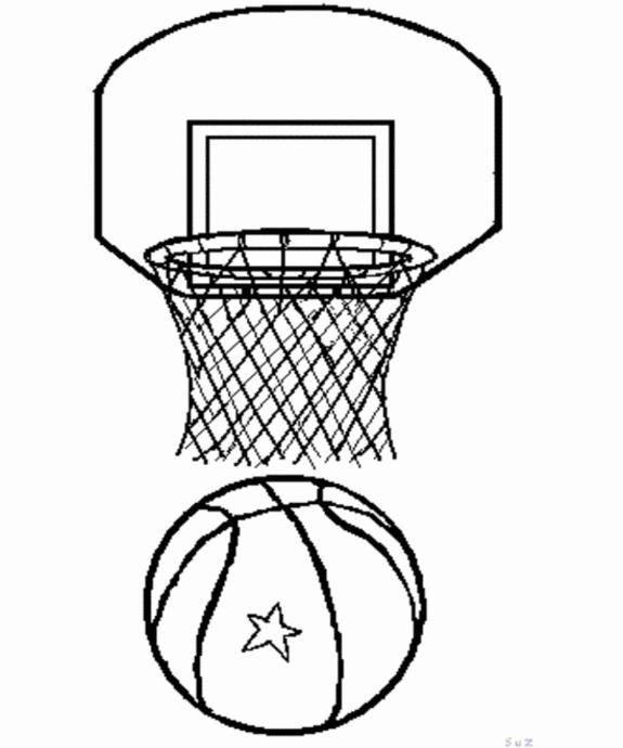 Coloriage ballon et panier de basketball dessin gratuit imprimer - Dessin basketball ...